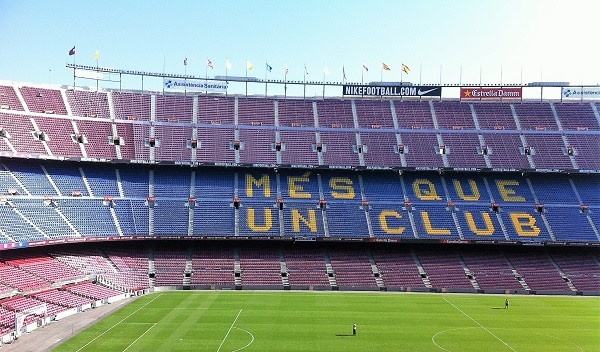 Een zicht op het indrukwekkende voetbalstadion Camp Nou