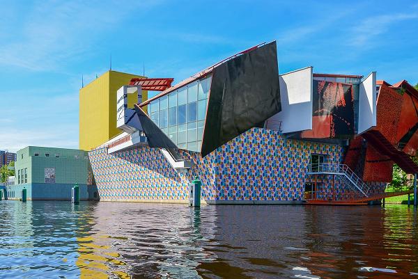 Een uitzicht op het Groninger Museum
