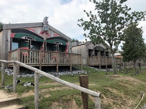 Een uitzicht op 2 huisjes in Native Village