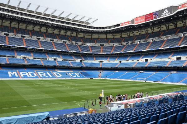 Een zicht op het wondermooie reusachtige Estadio Santiago Bernabéu